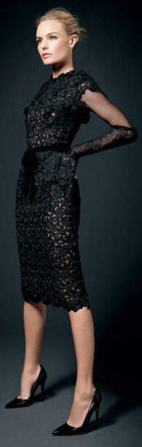 Guipure Lace Dress by Tom Ford for Fall 2010 / Winter 2011 (Model: Kate Bosworth; Hair: Adir Abergel; Makeup: Jessica Nedza; Shoes: Manolo Blahnik; Publication: InStyle © 11/2011)