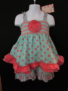CORAL & AQUA POLKA DOTS & RUFFLES by: ONE POSH KIDS a http://thelittlecousins.com/