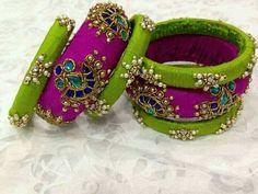Silk Thread Bangles Design, Silk Thread Necklace, Silk Bangles, Thread Jewellery, Fabric Jewelry, Bangle Set, Bangle Bracelets, Indian Jewelry, Indian Bangles