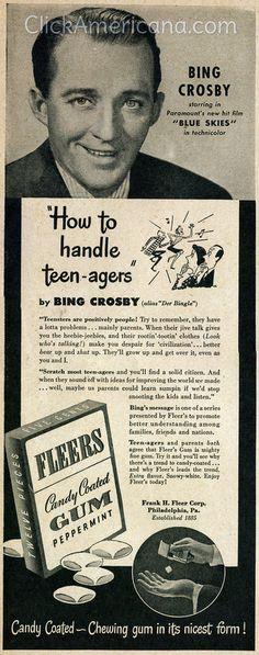 Bing Crosby ads for Philco & Fleers (1946)