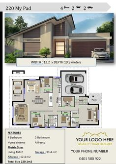 builders brochures Affordable Architecture Design for image 0 4 Bedroom House Plans, Dream House Plans, House Floor Plans, Dream Houses, Contemporary House Plans, Modern House Plans, Modern House Design, Architecture Design, Narrow Lot House Plans