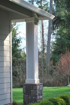 Stone Columns On A Brick House Fireplace Stone Stone
