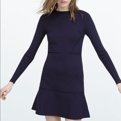 Zara long sleeve dress Slightly ruffled hem, notched long sleeves, flattering thick and stretchy viscose, elastin, nylon blend fabric. Worn once in Paris. Excellent condition. Zara Dresses Mini
