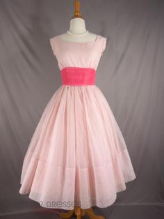 50s Party Dress in Pink. Nipped waist full skirt cupcake - sm by Better Dresses Vintage http://www.betterdressesvintage.com/products/50s-party-dress-in-pink-sm