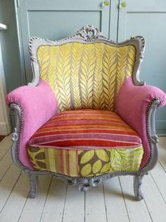 Funky Armchairs - Ideas on Foter Funky Chairs, Vintage Chairs, Funky Furniture, Upholstered Furniture, Patchwork Chair, Chair Fabric, Soft Furnishings, Armchair, Swivel Chair