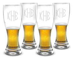 Monogrammed Pilsner Glass Set