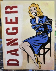 "Hand pulled silk screened folk pop art painting with hand painted details and watercolor background. ""Danger"" by Rob Johnston - Johnston America"