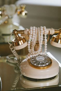 Vintage Telephone & Pearls- i remember growing up with a phone just like this in my nina's room <3