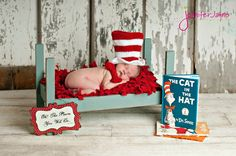 The Cat In The Hat Hat and Matching Bow - Cute picture idea for a newborn baby - like my niece's first! :)