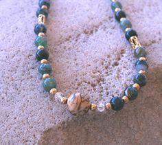 Green Moss Agate Necklace  Christmas Elegant by 2012BellaVida, $35.00