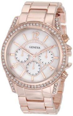 eb58549d6f0 Geneva Women s AMZ1002 Boyfriend Mother-of-Pearl Swarovski Stones Watch  Geneva Relógio Namorado
