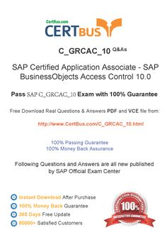 Candidate need to purchase the latest SAP C_GRCAC_10 Dumps with latest SAP C_GRCAC_10 Exam Questions. Here is a suggestion for you: Here you can find the latest SAP C_GRCAC_10 New Questions in their SAP C_GRCAC_10 PDF, SAP C_GRCAC_10 VCE and SAP C_GRCAC_10 braindumps. Their SAP C_GRCAC_10 exam dumps are with the latest SAP C_GRCAC_10 exam question. With SAP C_GRCAC_10 pdf dumps, you will be successful. Highly recommend this SAP C_GRCAC_10 Practice Test.