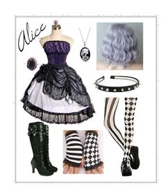 """""""Alice (Human) - Black Butler OC"""" by ava71201 ❤ liked on Polyvore featuring Demonia, Bling Jewelry and Couture by Lolita"""
