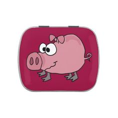 Funky Pink Pig Art Candy Tin #pink #pigs #funny #candy #tins #animals And www.zazzle.com/tickleyourfunnybone*