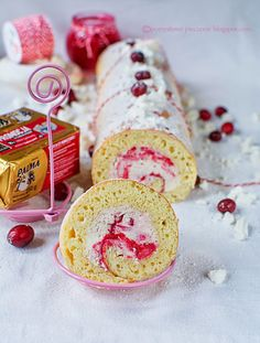 Christmas roulade with cranberry mousse