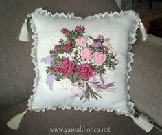 Ribbon embroidery pillow