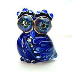 Owl Handmade Lampwork Glass Bead Focal by Georgie Field<3<3WOW!<3<3
