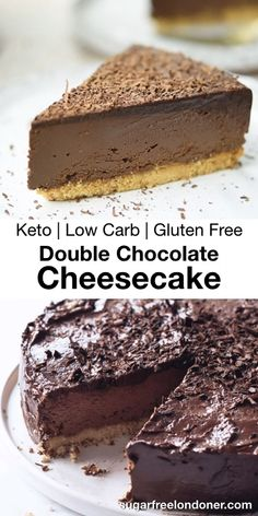 This Keto Chocolate Cheesecake is a showstopper! Perfect for a family gathering or special celebration. Not only is it decadent rich and utterly delicious its sugar free and ridiculously easy to make. Gluten free and low carb and only 20 minutes prep! Double Chocolate Cheesecake, Chocolate Cheesecake Recipes, Low Carb Cheesecake, Vegetarian Chocolate Cake, Low Carb Chocolate Cake, Gluten Free Cheesecake, Chocolate Fudge, Chocolate Desserts, Desserts Keto