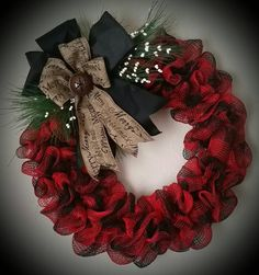 Hey, I found this really awesome Etsy listing at https://www.etsy.com/listing/489703853/red-black-buffalo-plaid-deco-mesh-wreath
