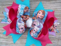 Disney Frozen Bow Inspired by Frozen Movie Elsa Ribbon by ransomletterhandmade, $10.00