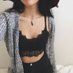 Black lace crop top, grey knit cardigan and high waisted black jeans