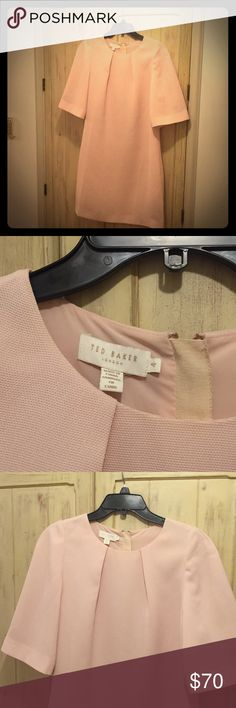 "Ted Baker size 4 baby pink mod ""Mad Men"" dress Never worn, therefore no signs of wear. ""Mad Men"" style mod dress in baby pink. Ted Baker size 4 (US size 10). Slightly oversized by design, this retro-inspired piece is elegant if worn with nude pumps and tied back hair. Effortlessly chic Ted Baker Dresses Midi"