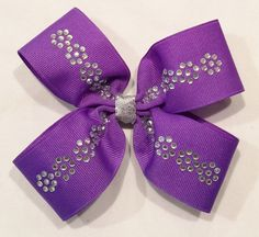 Purple Hair Bow With Rhinestones by LittleAsAccessories on Etsy