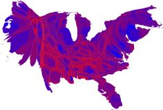 More accurate reflections of our red and blue state maps from population density to proportions of each party.