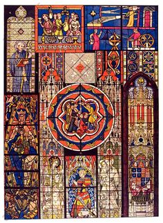 German illustration of French Gothic stained glass windows from French cathedrals