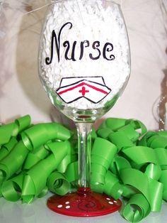 Calling All Nurses Hand Painted Wine Glass by ArtworkByKimTyson