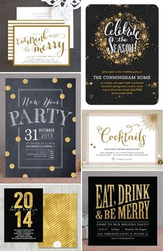 Gold Glitter-Look Holiday Party Invites as seen on invitationcrush.com