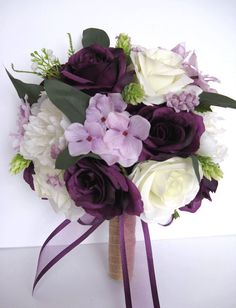 Rustic Purple Wedding, Purple Wedding Bouquets, Silk Flower Bouquets, Bridesmaid Flowers, Bride Bouquets, Flower Bouquet Wedding, Silk Flowers, Lilac Wedding Flowers, Hydrangea Bridal Bouquet