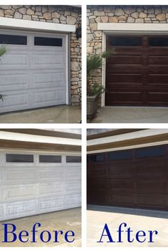 Faux wood carriage garage door tutorial remodelaholic garages diy garage door makeover using minwax gel stain in hickory white trim solutioingenieria Image collections