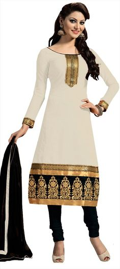 447264 White and Off White  color family Party Wear Salwar Kameez in Chanderi fabric with Border, Machine Embroidery, Thread work .