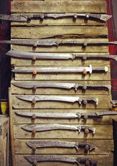 Zombie Tools makes battle-ready axes, knives and swords. Swords And Daggers, Knives And Swords, Katana, Zombie Tools, La Forge, Medieval Weapons, Cool Knives, Arm Armor, Survival Gear