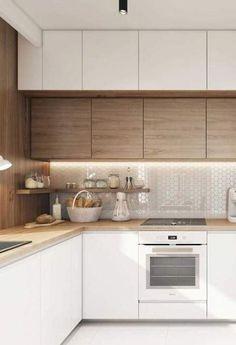 Pastilhas brancas na parede, mas para não cair na mesmice um pouco de brilho e luz Industrial Kitchen Design, Kitchen Room Design, Kitchen Cabinets Decor, Kitchen Sets, Modern Kitchen Design, Home Decor Kitchen, Interior Design Kitchen, Kitchen Furniture, Home Kitchens