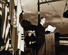 Korean War, Republic of Korea Forces. The Honorable Kim Yong Jon, Minister of Korea, delivers acceptance speech in which he accepts two U.S. patrol frigates from U.S. at Yokosuka, Japan, October 20, 1950. U.S. Navy photograph, now in the collections of the National Archives.