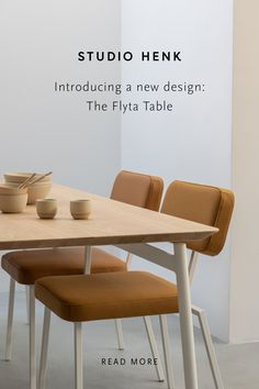 The Flyta Table is a new and innovative dining table design from Studio HENK. This table has a light appearance thanks to the floting connection of the frame and the tabletop. The Flyta Table is fully customisable. Shop this piece online now. #studiohenk #diningtable #tabledesign #furniture #dutchdesign #interiorinspiration #minimalinterior #minimalism #slowliving #moderninterior