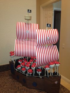 Kate made the ship as well as the cake pops for our friends' sons' fourth birthday party today. The girl has talent.