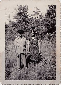Old Antique Vintage Photograph African American Man and Woman in Field