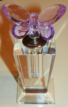 Small Clear Bottle With Pink and Purple Butterfly Stopper