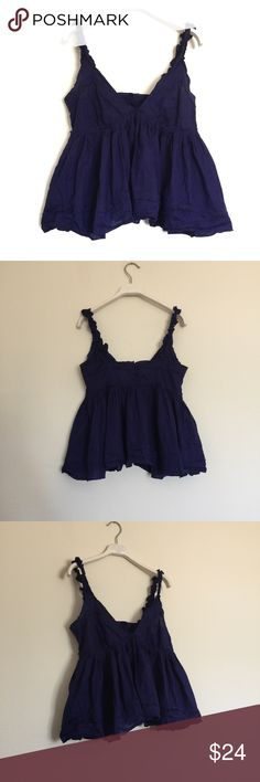 """MODA purple crop ruffled babydoll tank XS Adorable tank with button closure back. Great condition. Pit to pit 16"""", length 22"""". Bundle to save 25%! Moda International Tops"""