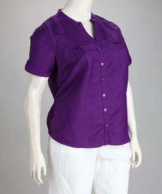 Take a look at this Purple Linen-Blend Plus-Size Button-Up Top by Natural Collection on #zulily today!