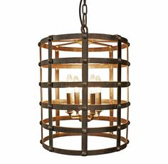 This warm and welcoming chandelier hangs handsomely in an entryway or hallway. Wrought from dark, rust-colored metal, the barrel shape opens to allow four lights to shine forth into your home. A six-foot chain allows adjustment to the perfect height and the corresponding canopy anchors the pendant to the ceiling.