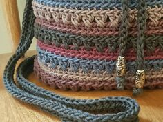 Crochet Crossbody Drawstring Bag Gray Blue Purple Stripes
