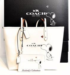 COACH X Peanuts SNOOPY White City Tote Bag & Wristlet Valentine's Gift Set NWT #Coach #SatchelCrossBodyTotesShoppers