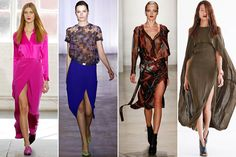 Dresses may have veered more on the conservative side, but a healthy dose of sexiness was still preserved with hip-grazing slits.     Jenni Kayne, Preen, Altuzara, Jeremy Laing, all images via Style.com.