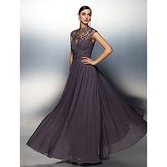 A-line High Neck Floor-length Chiffon Evening Dress. Do you like this dress?