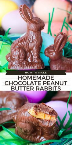 Little Homemade Chocolate Peanut Butter Rabbits are just perfect for Easter Baskets! Make them like this with a peanut butter filling, leave them hollow or make them into solid chocolate bunnies! via @bigbearswife Cute Easter Desserts, Easy Easter Recipes, Easter Dinner Recipes, Easter Brunch, Gluten Free Chocolate, Homemade Chocolate, Chocolate Peanut Butter, Chocolate Candy Melts, Melting Chocolate