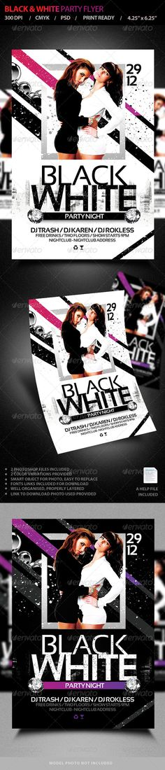 White Night Flyer Template Flyer template, Party flyer and Print - black and white flyer template